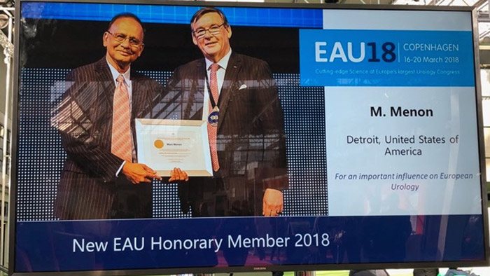 Dr Menon recognized by European Urology Association